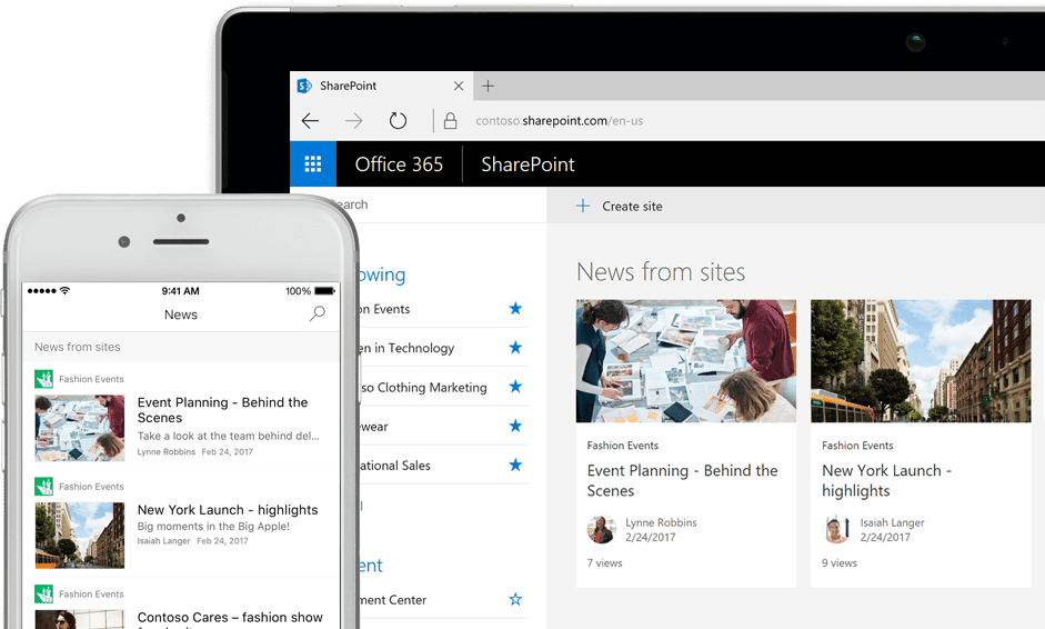 Microsoft SharePoint for business: create intranet, team, customer and supplier sites for easy collaboration.